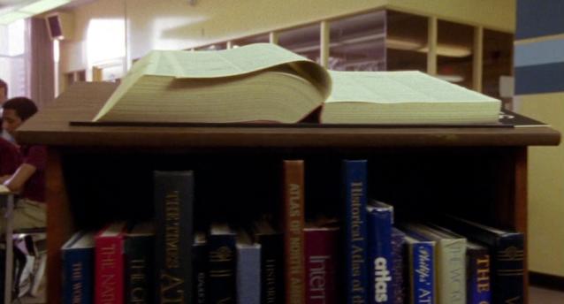 Bookcase closeup to set the library scene