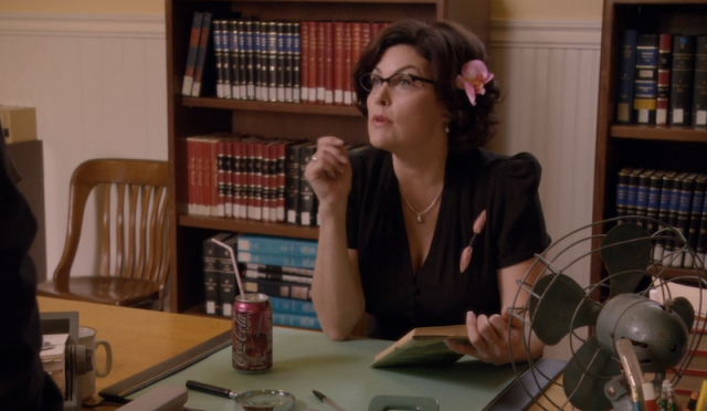 """The reel librarian Maudette Hornsby from """"Dual Spires"""" Psych episode"""