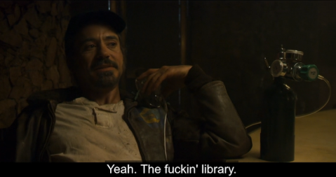 "Avery comments, ""Yeah. The fuckin' library"" in a scene from Zodiac (2007)"