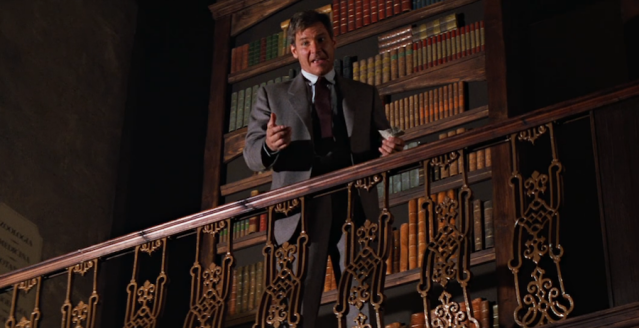 "Screenshot from the library scene in 'Indiana Jones and the Last Crusade"" (1989)"