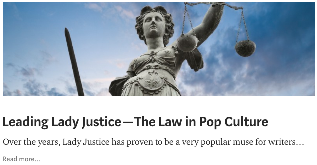 """Screenshot of """"Leading Lady Justice—The Law in Pop Culture"""" blog post, Washington State Law Library blog"""