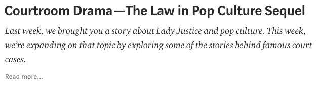 "Screenshot of ""Courtroom Drama — The Law in Pop Culture Sequel"" blog post, Washington State Law Library blog"