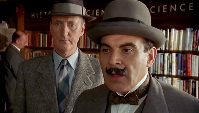 Backdrop of library shelves in library scene in 'Evil Under the Sun' Poirot TV movie