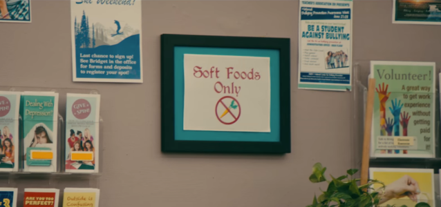 Library sign about Soft Foods Only from To All the Boys I've Loved Before (2018)