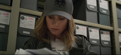 Archival boxes in the records scene in Captain Marvel (2019)