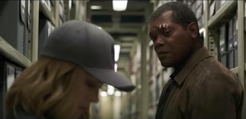 Nick Fury and Carol Danvers in the archives scene in Captain Marvel (2019)
