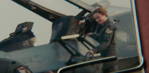 Photograph evidence of Carol Danvers as a pilot on Project Pegasus in Captain Marvel (2019)