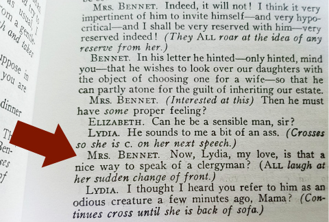 Clergyman introduction in Pride and Prejudice 1934 play