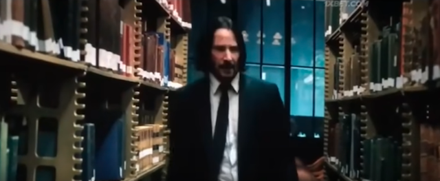 John Wick goes back to replace the library book in John Wick: Chapter 3 - Parabellum