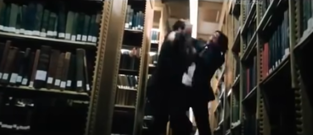 Fight in the library stacks in John Wick: Chapter 3 - Parabellum
