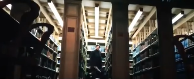 Rows of bookcases during the library fight scene in John Wick: Chapter 3 - Parabellum