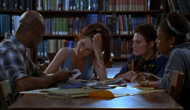 Librarians discuss library school options in Party Girl (1995)