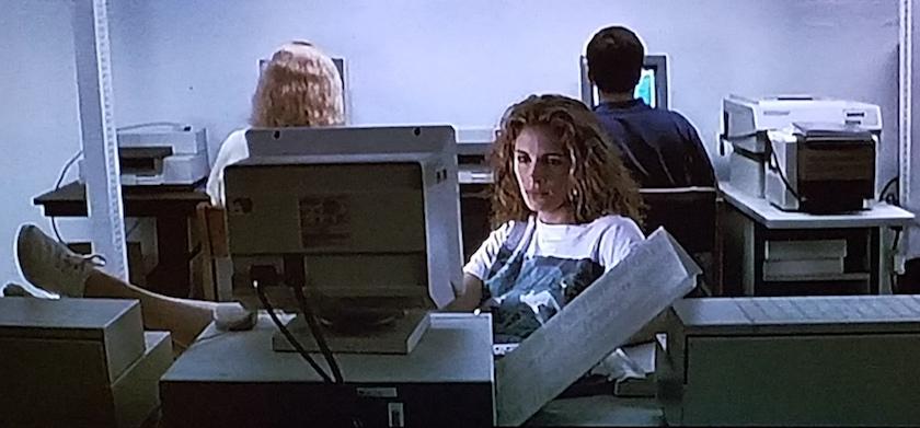 Microfilm research in The Pelican Brief (1993)