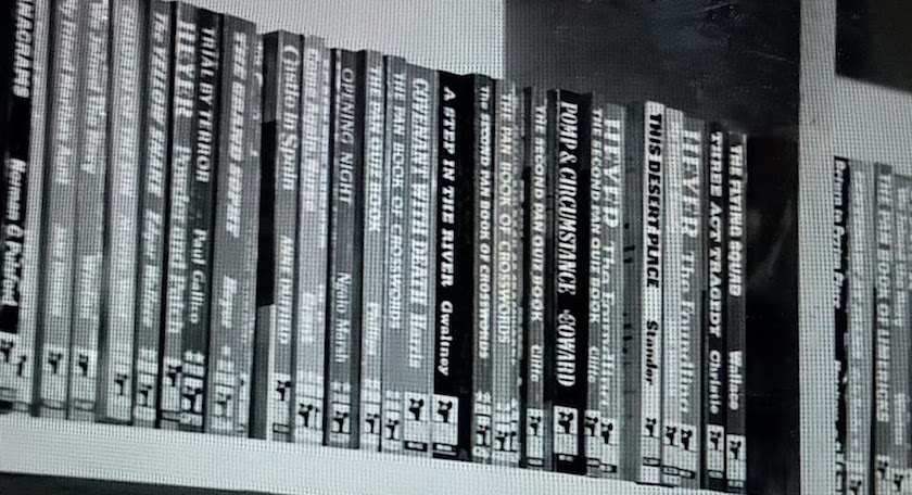 Books in Miss Marple's private library, as seen in Murder Ahoy! (1964)