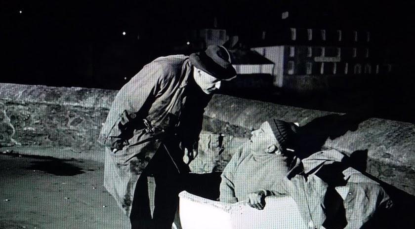 Mr. Stringer gets caught by a tramp in Murder Ahoy! (1964)