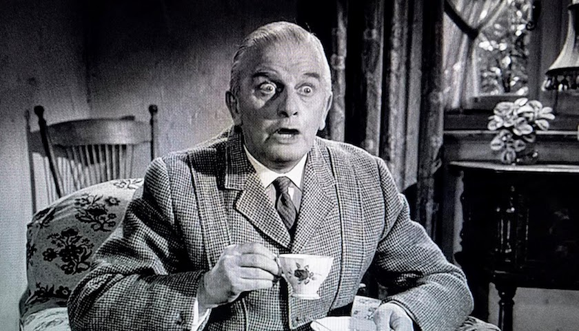 Mr. Stringer's facial expression of surprise in Murder at the Gallop (1963)