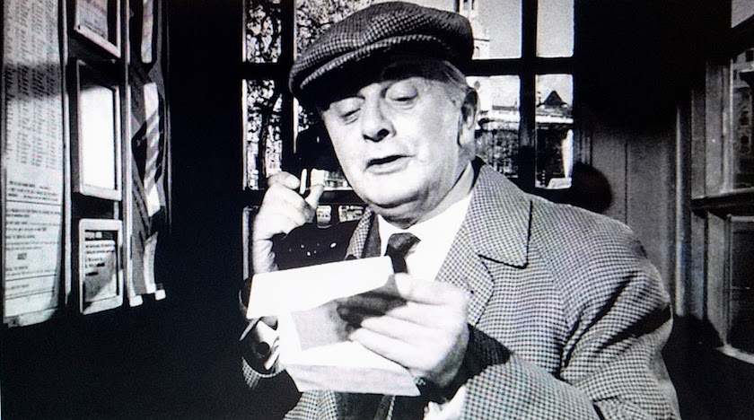 Mr. Stringer reports the results of his research to Miss Marple, in Murder Most Foul (1964)
