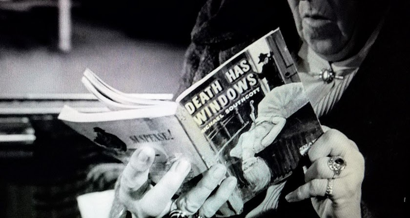 What Miss Marple read, in Murder, She Said (1961), a closeup of a pulp mystery novel