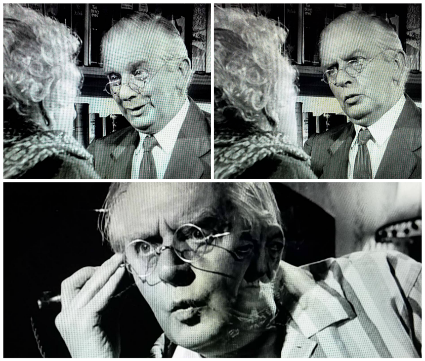 A collage of Mr. Stringer's facial expressions in Murder She Said (1961)