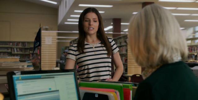 Stephanie visits a local library to ask for past news article in A Simple Favor