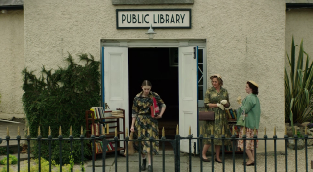The exterior of the public library, as seen in the short library scene in 'We Have Always Lived in the Castle' (2018)